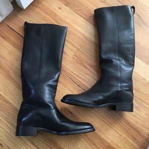 NWOT JCrew Black Leather Riding Boots 7 1/2